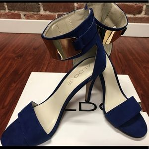 Blue Aldo Heels with Gold Plated Ankle Strap